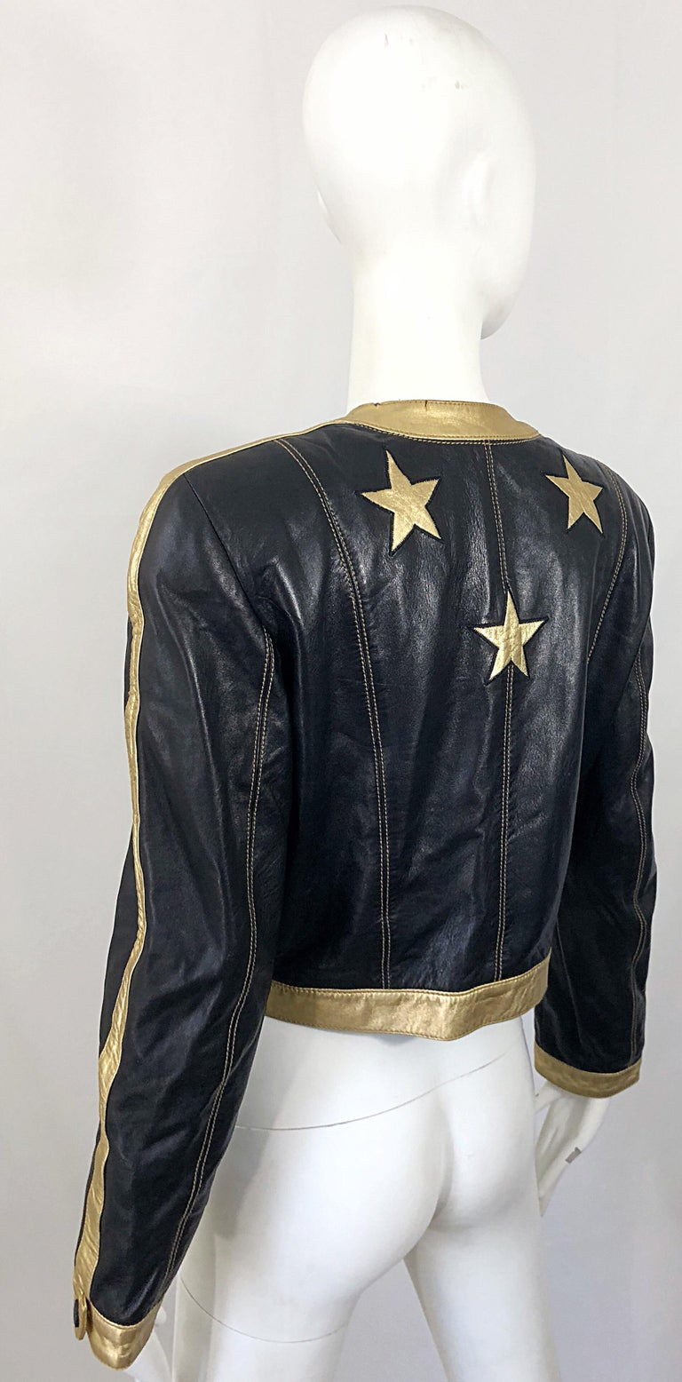 Documented Escada 1990s Black + Gold Leather Stars Vintage 90s Cropped Jacket 14