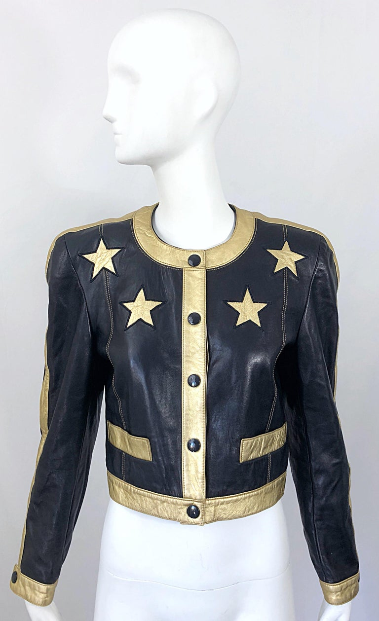 Documented Escada 1990s Black + Gold Leather Stars Vintage 90s Cropped Jacket 15