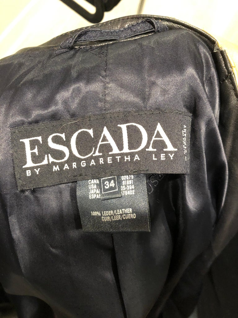Documented Escada 1990s Black + Gold Leather Stars Vintage 90s Cropped Jacket 16