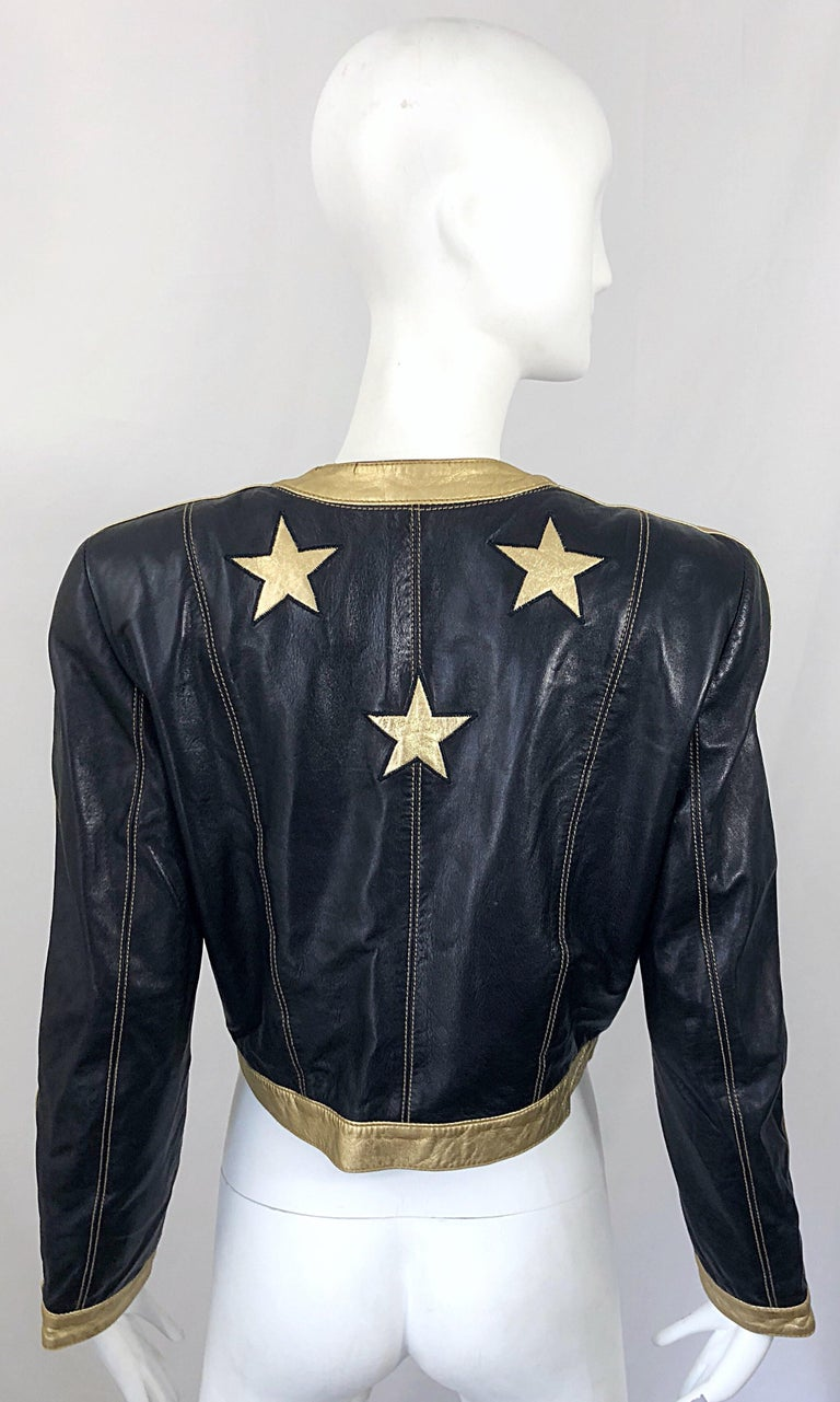Documented Escada 1990s Black + Gold Leather Stars Vintage 90s Cropped Jacket 3