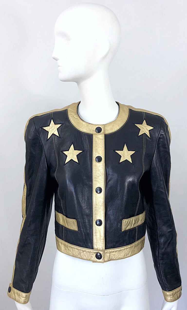 Documented Escada 1990s Black + Gold Leather Stars Vintage 90s Cropped Jacket 4
