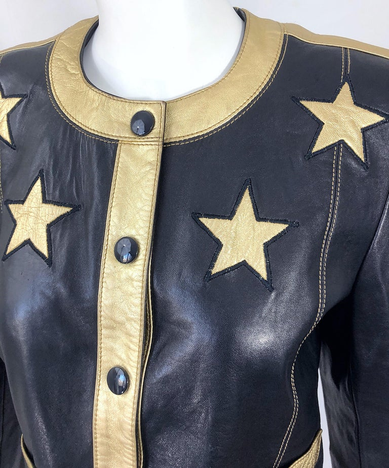 Documented Escada 1990s Black + Gold Leather Stars Vintage 90s Cropped Jacket 5