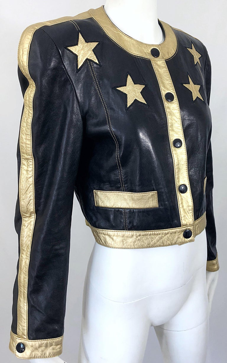 Documented Escada 1990s Black + Gold Leather Stars Vintage 90s Cropped Jacket 6