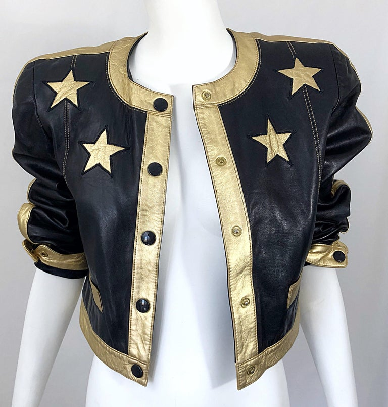 Documented Escada 1990s Black + Gold Leather Stars Vintage 90s Cropped Jacket 7