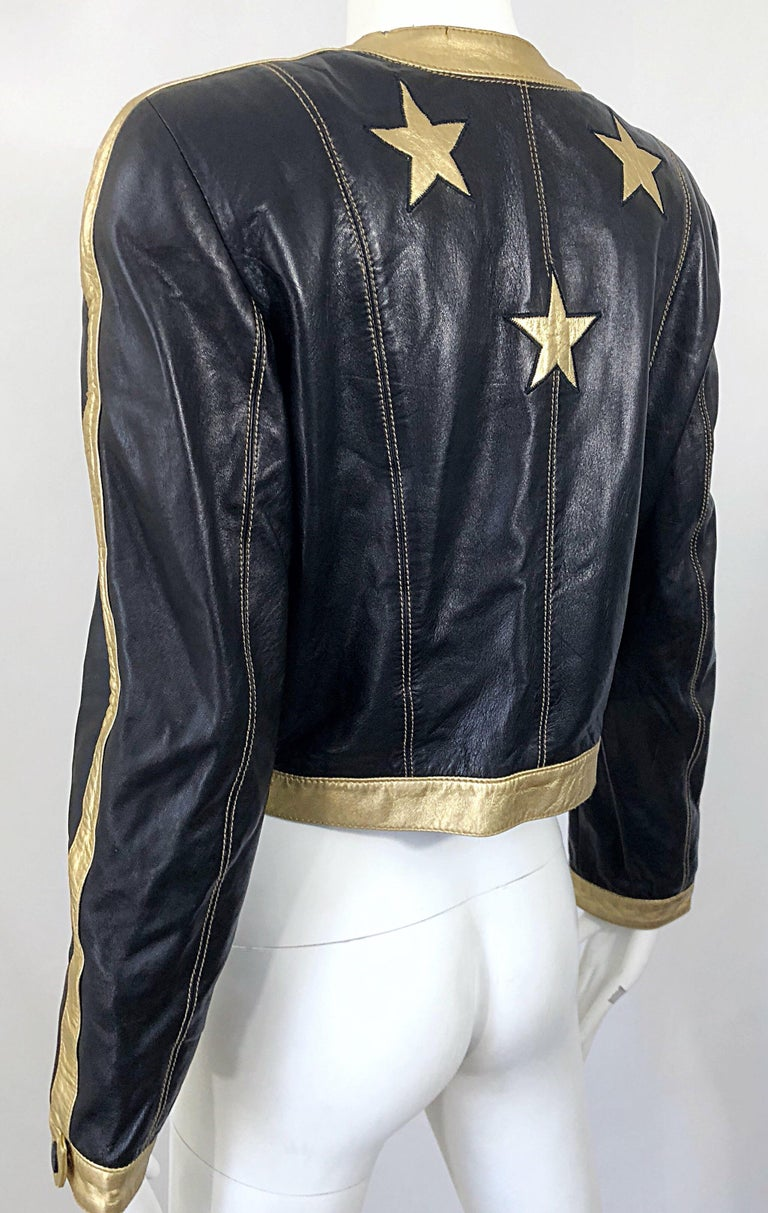 Documented Escada 1990s Black + Gold Leather Stars Vintage 90s Cropped Jacket 9