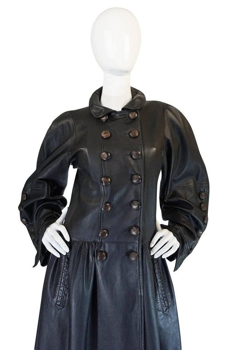 Yves Saint Laurent Documented Runway Leather Coat, Fall 1982  In Excellent Condition For Sale In Rockwood, ON
