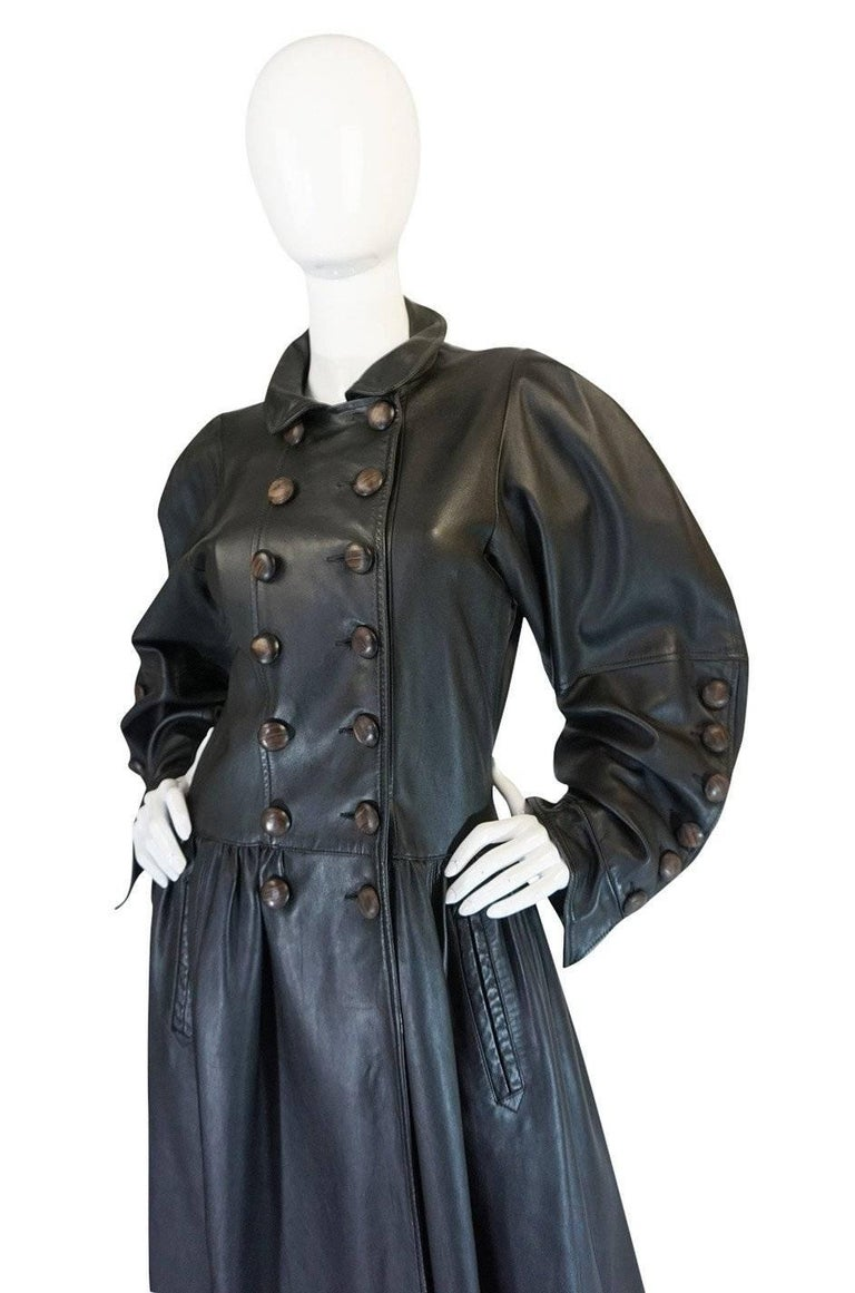 Women's Yves Saint Laurent Documented Runway Leather Coat, Fall 1982  For Sale