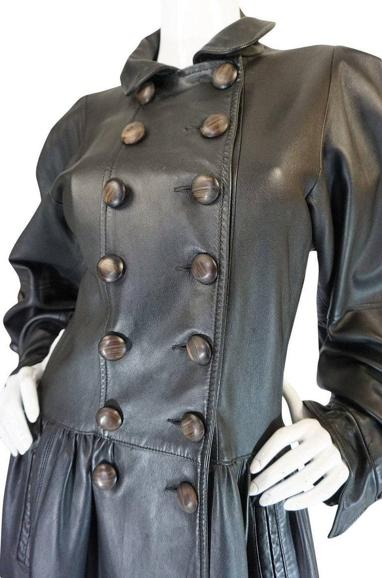 Yves Saint Laurent Documented Runway Leather Coat, Fall 1982  For Sale 2