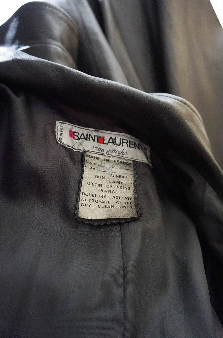 Yves Saint Laurent Documented Runway Leather Coat, Fall 1982  For Sale 4