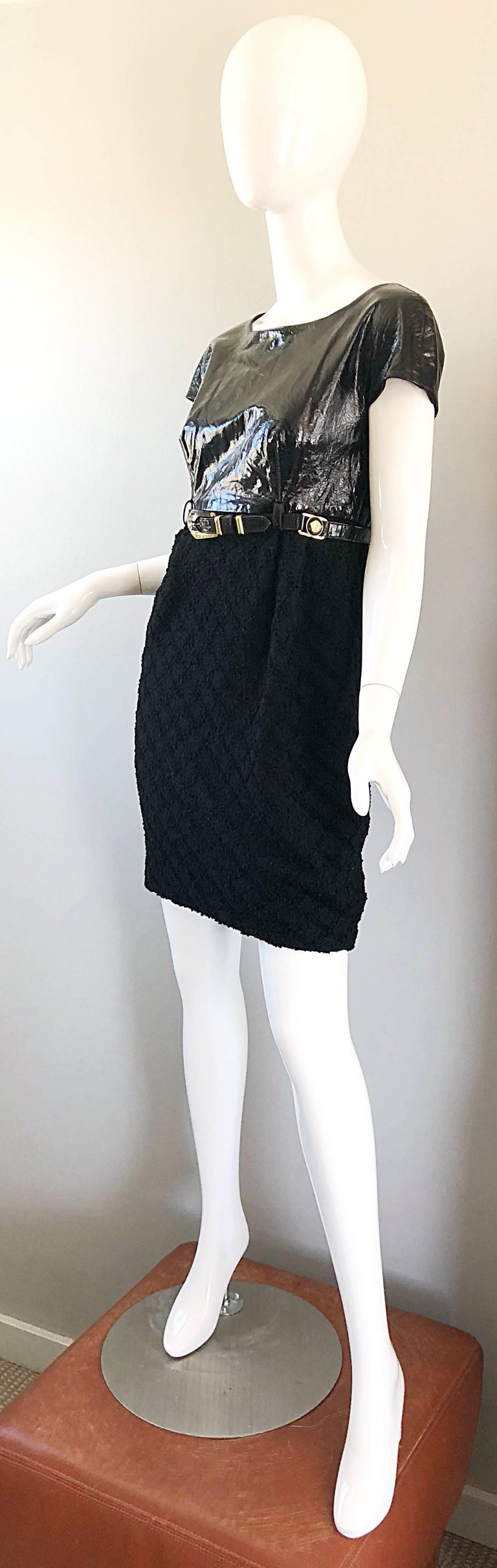 Documented Gianni Versace Couture Vintage F/W 1994 Black PVC Wool 90s Dress For Sale 7