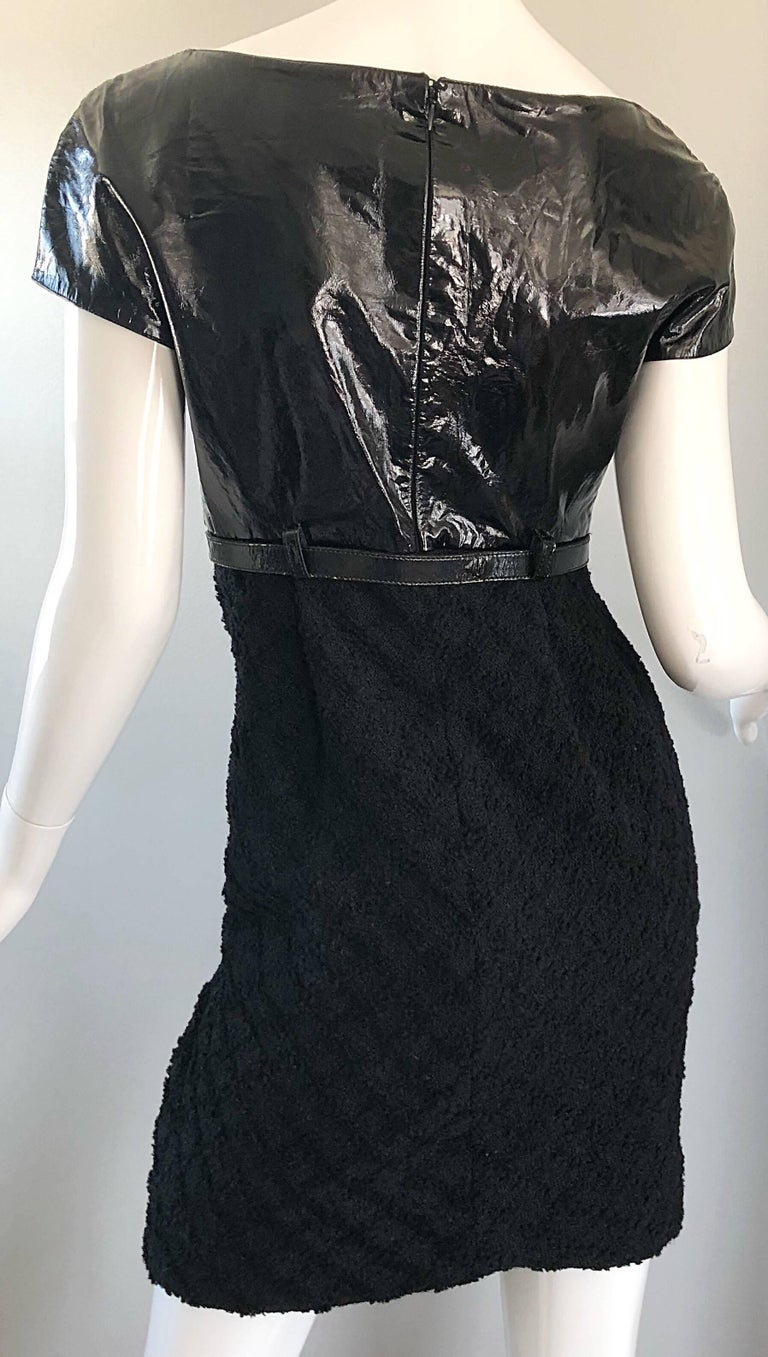 Documented Gianni Versace Couture Vintage F/W 1994 Black PVC Wool 90s Dress For Sale 8