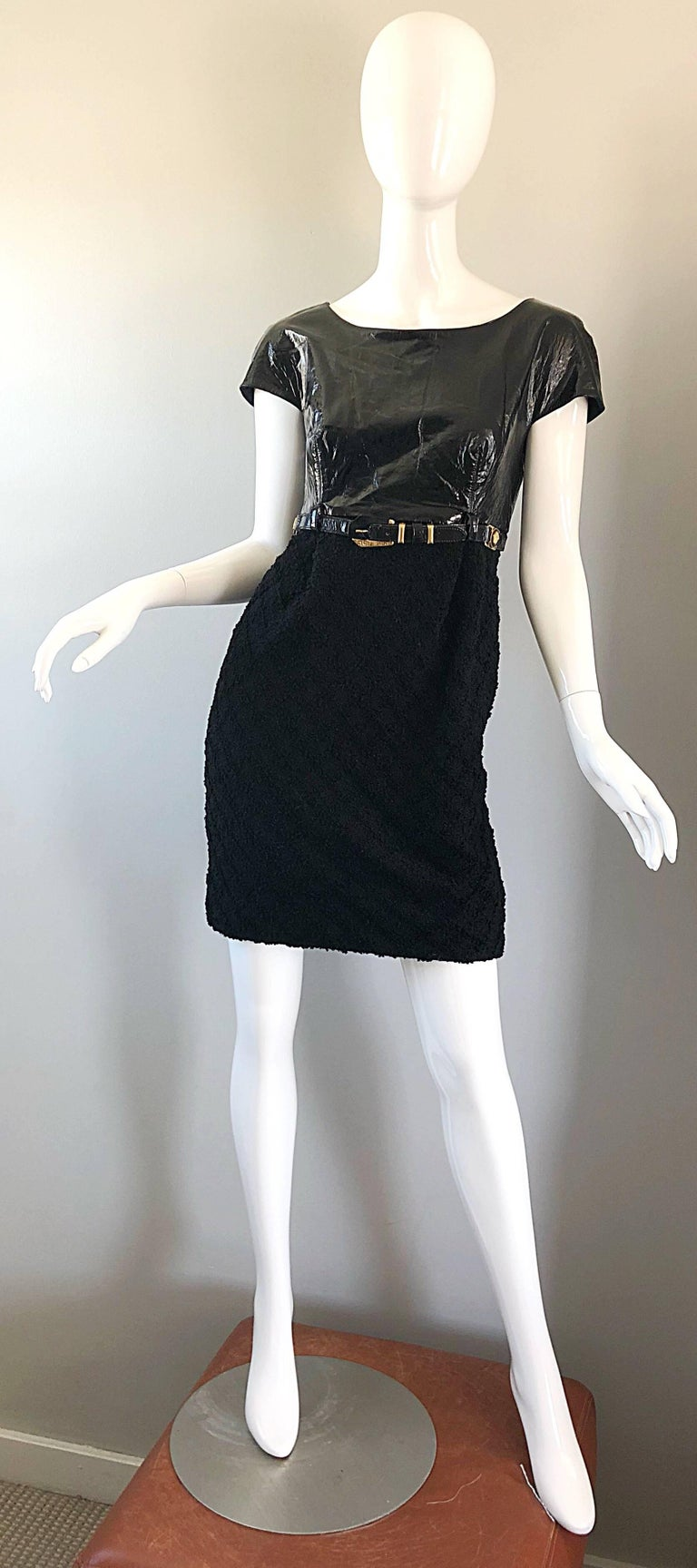 Documented Gianni Versace Couture Vintage F/W 1994 Black PVC Wool 90s Dress For Sale 9