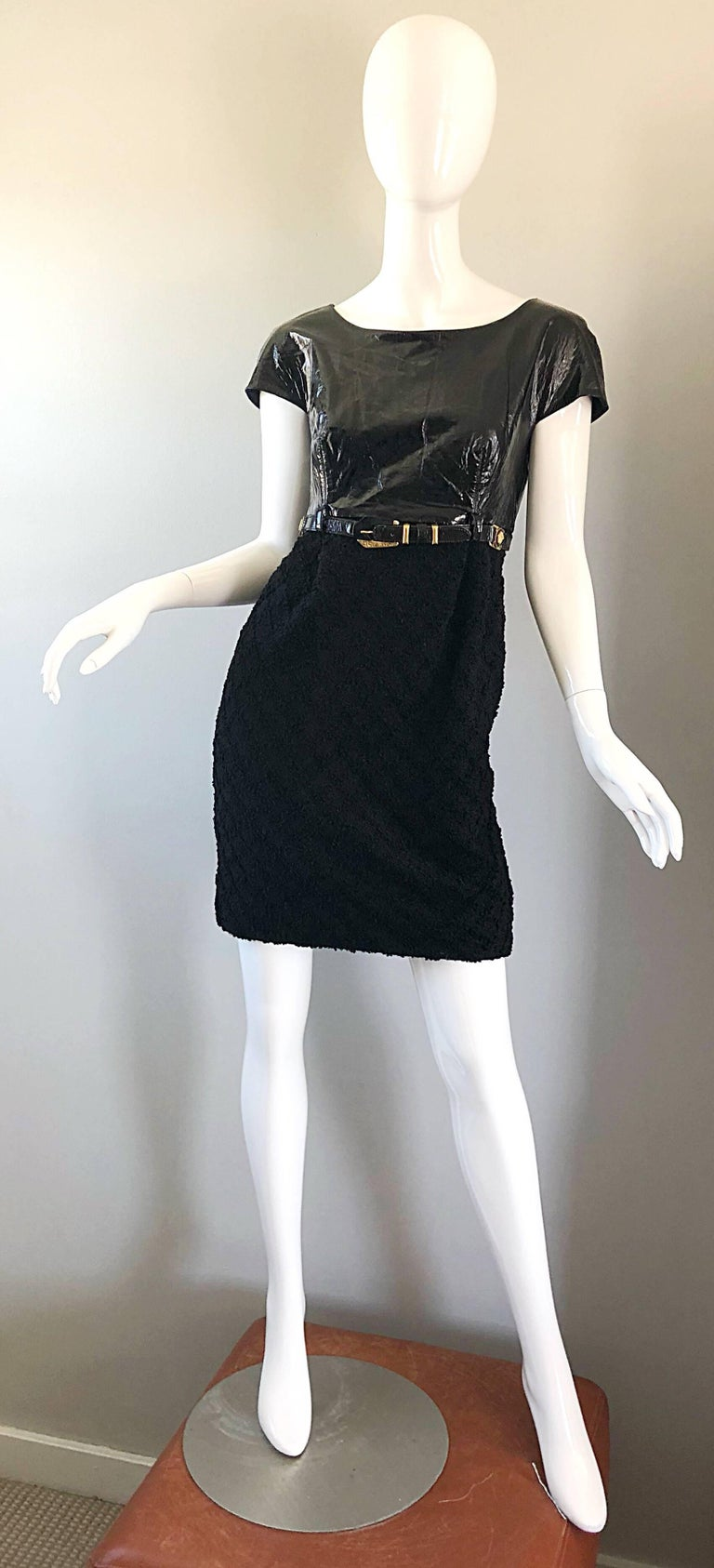 Documented Gianni Versace Couture Vintage F/W 1994 Black PVC Wool 90s Dress In Excellent Condition For Sale In Chicago, IL
