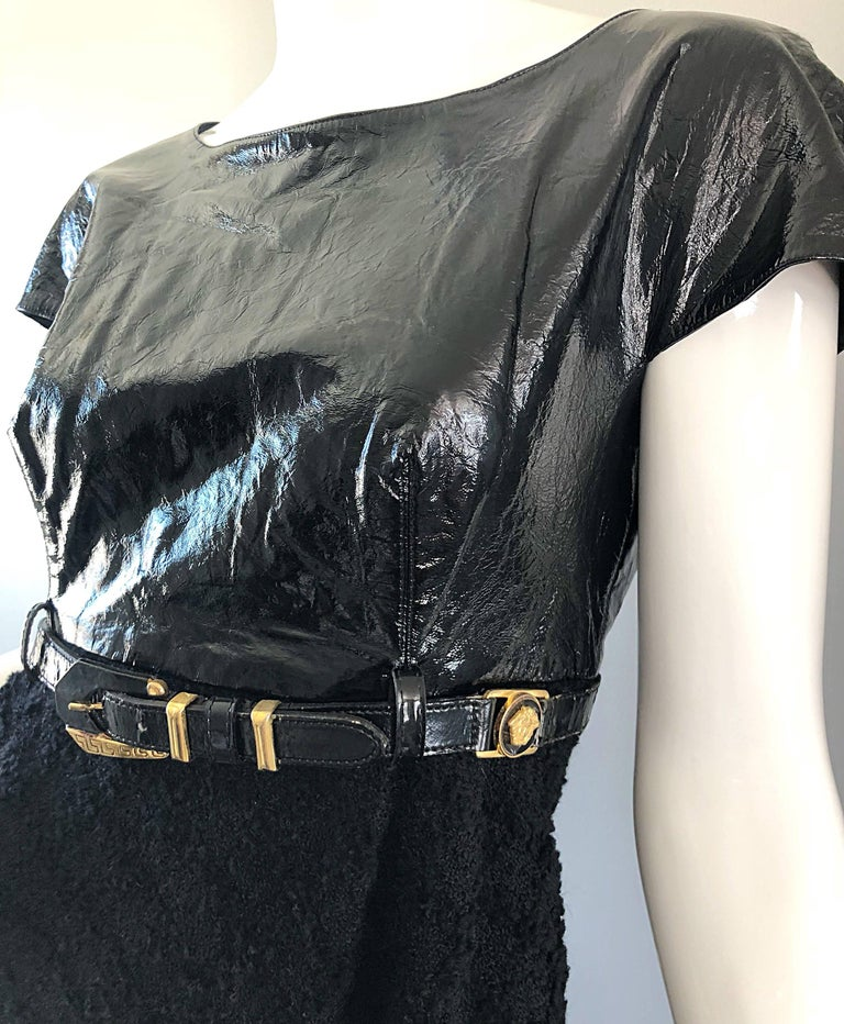 Women's Documented Gianni Versace Couture Vintage F/W 1994 Black PVC Wool 90s Dress For Sale