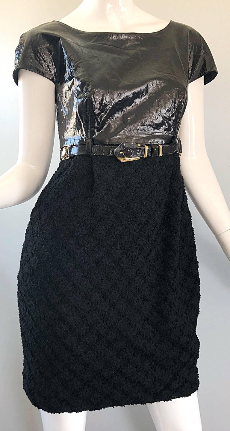 Documented Gianni Versace Couture Vintage F/W 1994 Black PVC Wool 90s Dress For Sale 2
