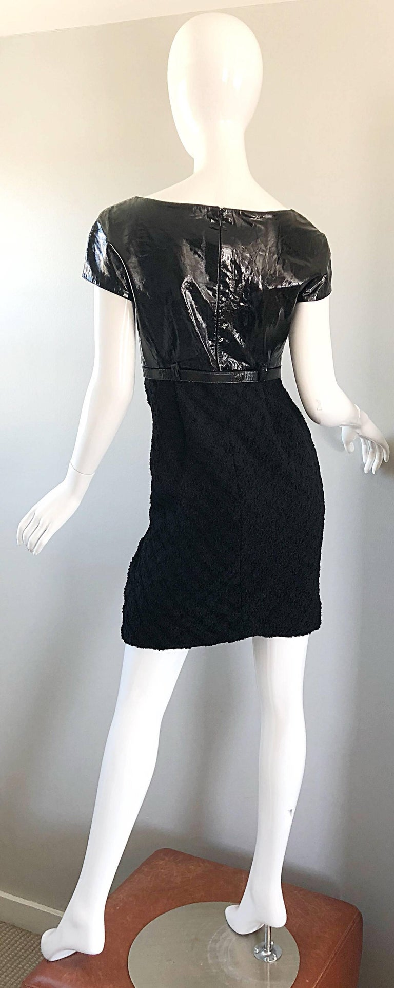 Documented Gianni Versace Couture Vintage F/W 1994 Black PVC Wool 90s Dress For Sale 3