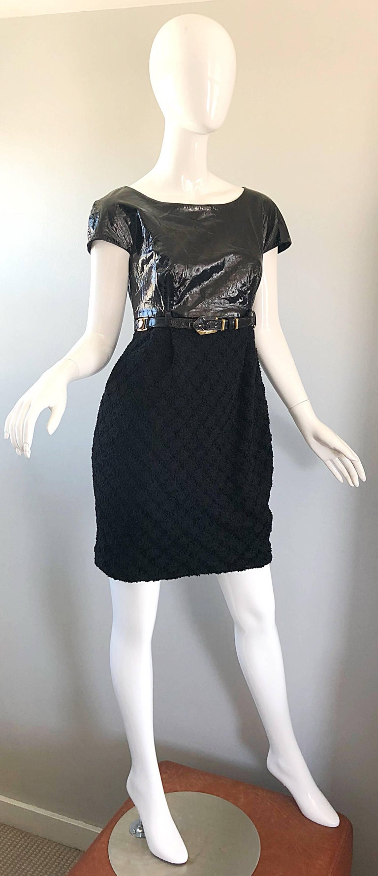 Documented Gianni Versace Couture Vintage F/W 1994 Black PVC Wool 90s Dress For Sale 5