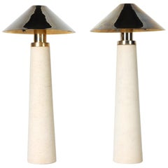 Documented Karl Springer Design Stone Lighthouse Table Lamp, Pair