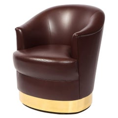Documented Karl Springer Mid-Century Brass Wrapped Arm Chair in Edelman Leather