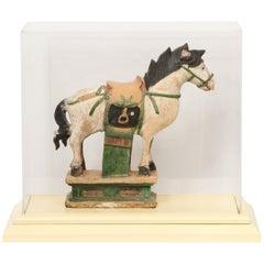 Documented Ming Era Sacai Glazed Pottery Figure of a Horse China with C.O.A.