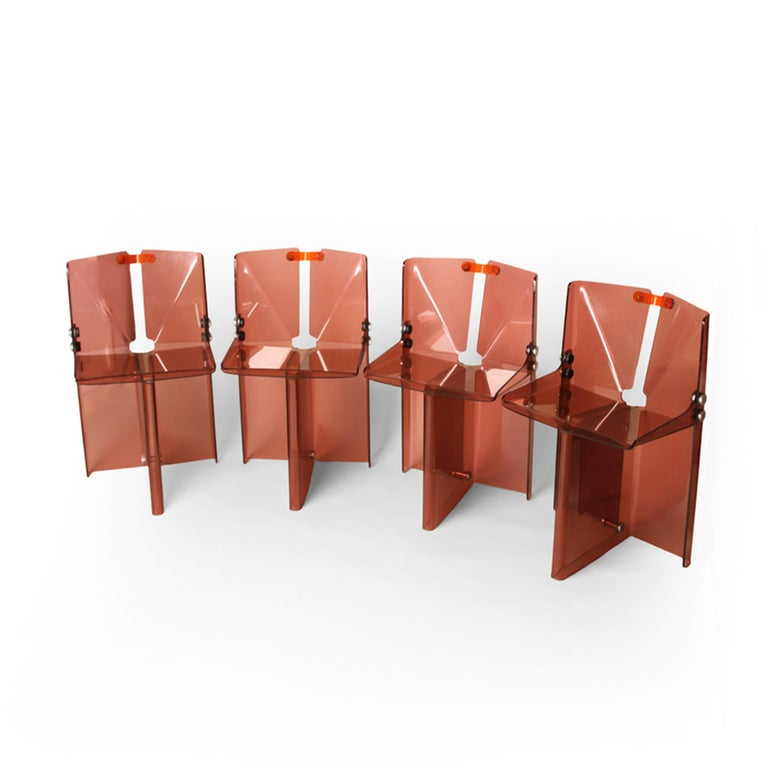 British Documented Peter Banks Unique Smoked Perspex Dining Chairs, MidCentury Space Age