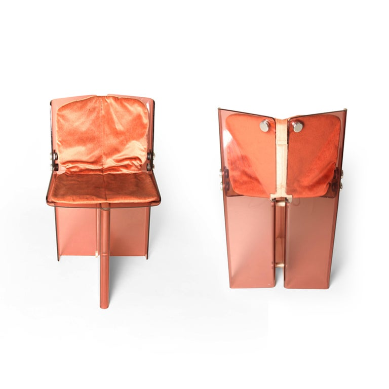 Chrome Documented Peter Banks Unique Smoked Perspex Dining Chairs, MidCentury Space Age