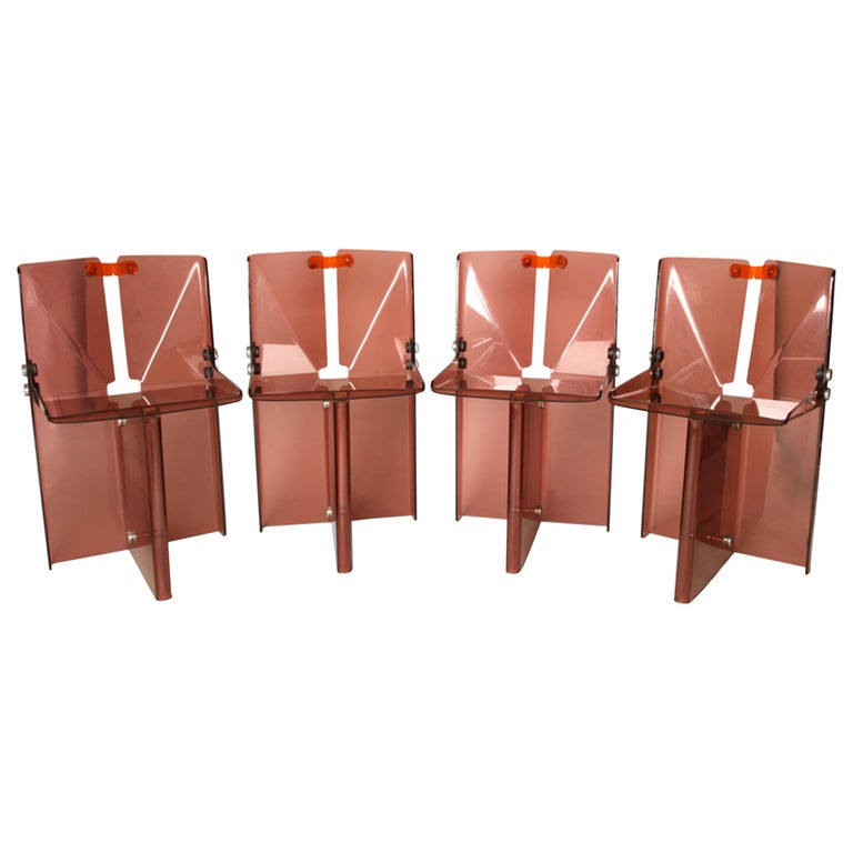 Documented Peter Banks Unique Smoked Perspex Dining Chairs, MidCentury Space Age