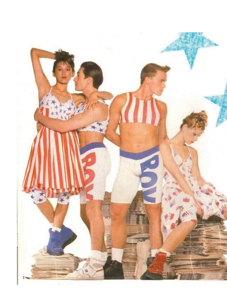 Beige Documented Vintage Boy London 1980s American Flag Hand Painted Cotton 80s Dress For Sale