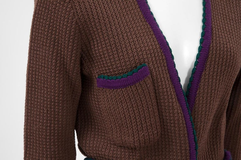 Documented Yves Saint Laurent Wool Belted Cardigan, Circa 1973 For Sale 6