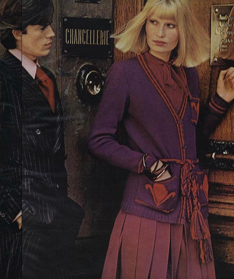 Documented Yves Saint Laurent Wool Belted Cardigan, Circa 1973 In Good Condition For Sale In Geneva, CH