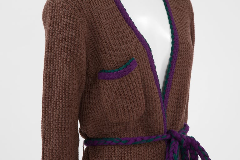 Women's Documented Yves Saint Laurent Wool Belted Cardigan, Circa 1973 For Sale