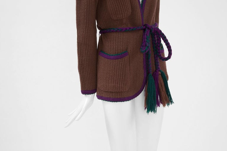 Documented Yves Saint Laurent Wool Belted Cardigan, Circa 1973 For Sale 1