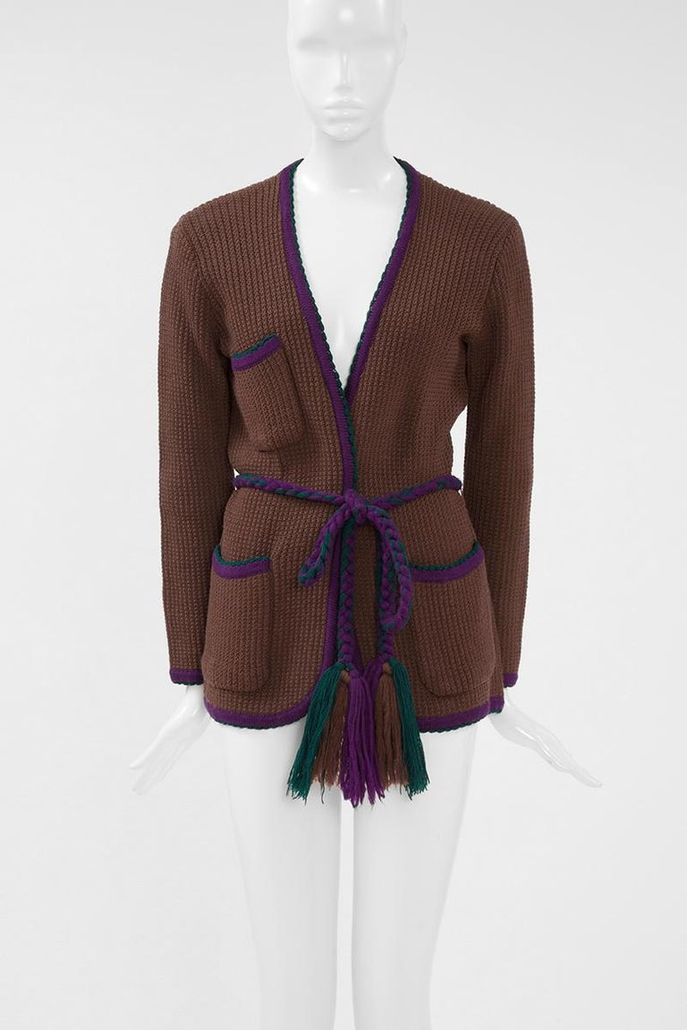 Documented Yves Saint Laurent Wool Belted Cardigan, Circa 1973 For Sale 2