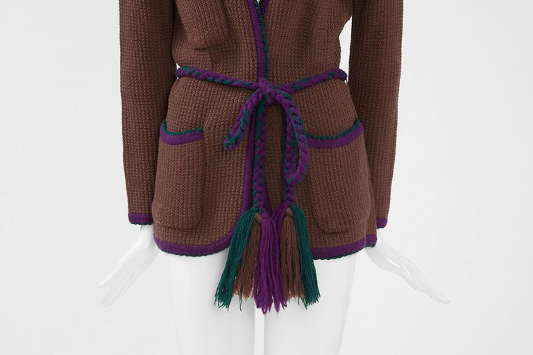 Documented Yves Saint Laurent Wool Belted Cardigan, Circa 1973 For Sale 3