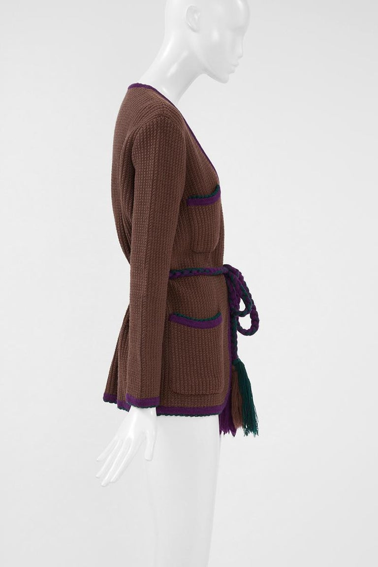 Documented Yves Saint Laurent Wool Belted Cardigan, Circa 1973 For Sale 4