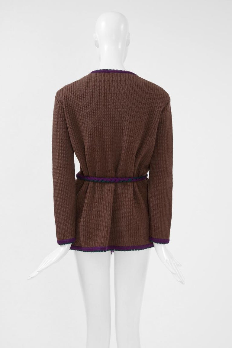 Documented Yves Saint Laurent Wool Belted Cardigan, Circa 1973 For Sale 5