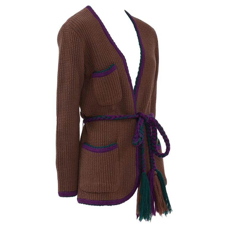 Documented Yves Saint Laurent Wool Belted Cardigan, Circa 1973 For Sale