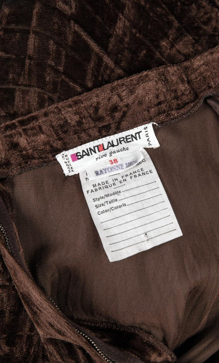 Documented Yves Saint Laurent YSL Brown Pleated Crushed Velvet Skirt, late 1970s For Sale 6