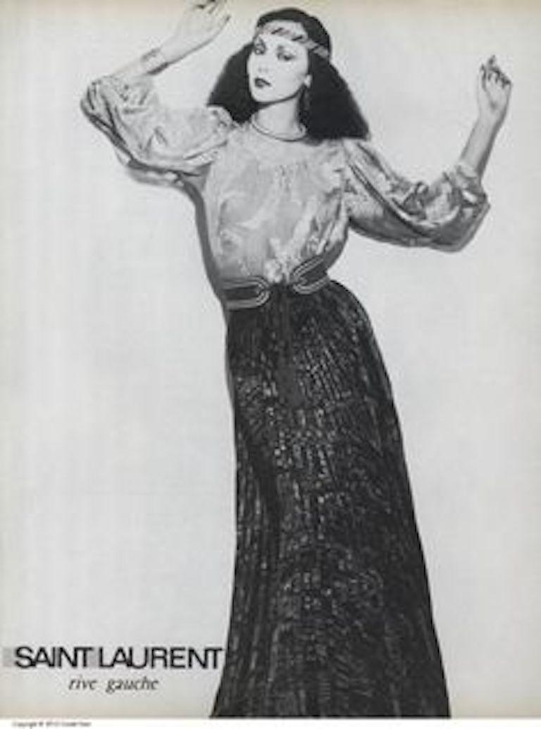 Documented Yves Saint Laurent YSL Brown Pleated Crushed Velvet Skirt, late 1970s For Sale 7