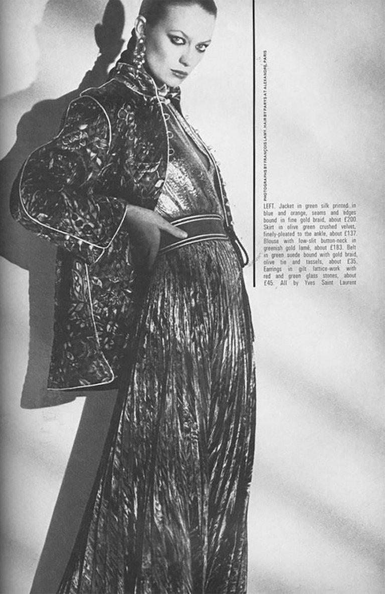 Documented Yves Saint Laurent YSL Brown Pleated Crushed Velvet Skirt, late 1970s For Sale 8