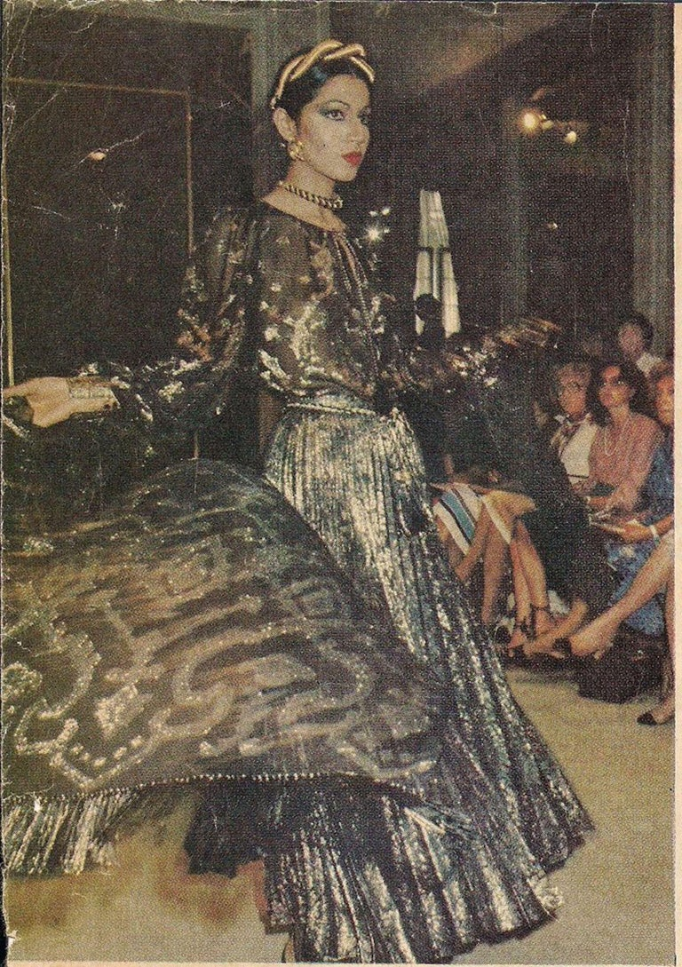 Documented Yves Saint Laurent YSL Brown Pleated Crushed Velvet Skirt, late 1970s For Sale 9