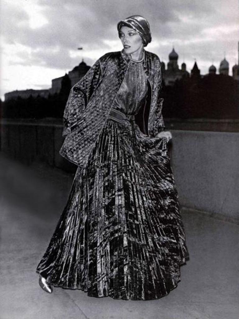Documented Yves Saint Laurent YSL Brown Pleated Crushed Velvet Skirt, late 1970s For Sale 10