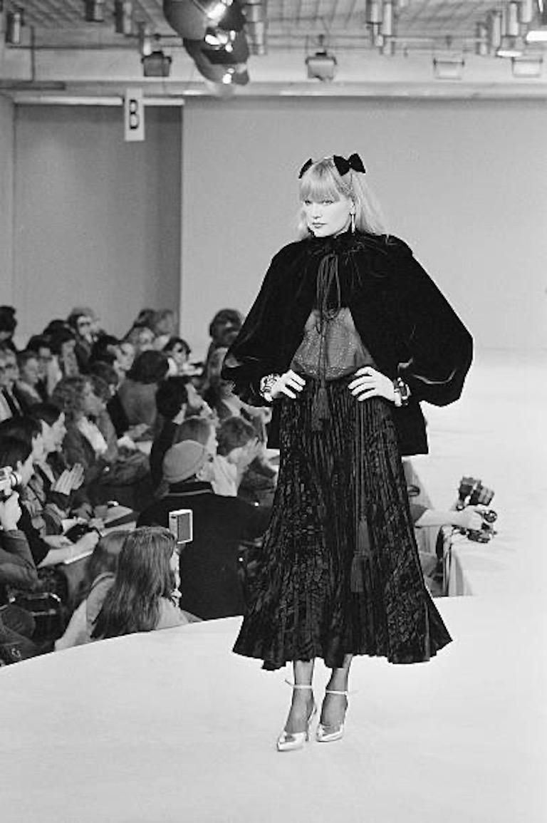 Documented Yves Saint Laurent YSL Brown Pleated Crushed Velvet Skirt, late 1970s For Sale 12