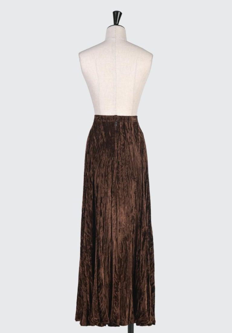 Women's Documented Yves Saint Laurent YSL Brown Pleated Crushed Velvet Skirt, late 1970s For Sale