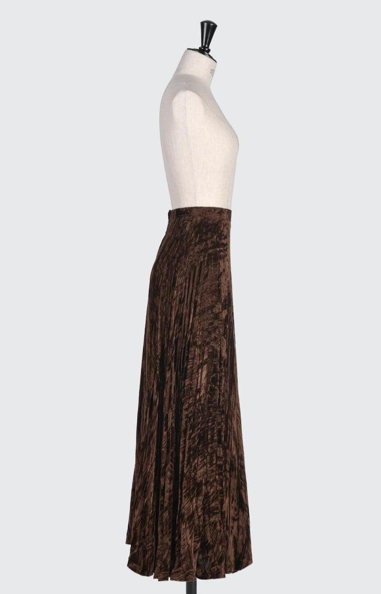 Documented Yves Saint Laurent YSL Brown Pleated Crushed Velvet Skirt, late 1970s For Sale 1