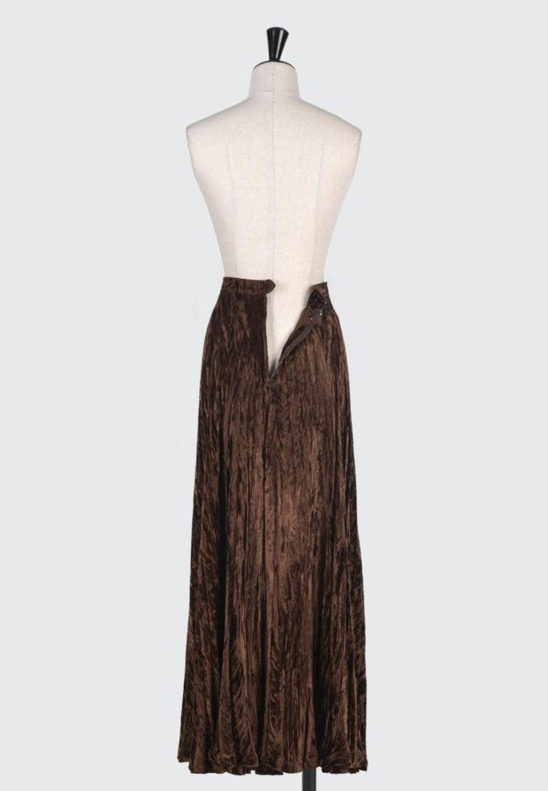 Documented Yves Saint Laurent YSL Brown Pleated Crushed Velvet Skirt, late 1970s For Sale 2