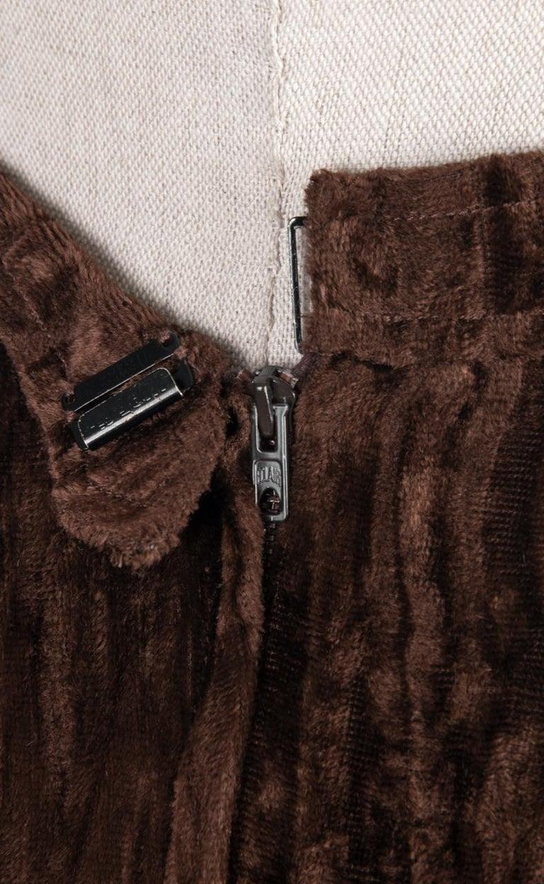 Documented Yves Saint Laurent YSL Brown Pleated Crushed Velvet Skirt, late 1970s For Sale 4