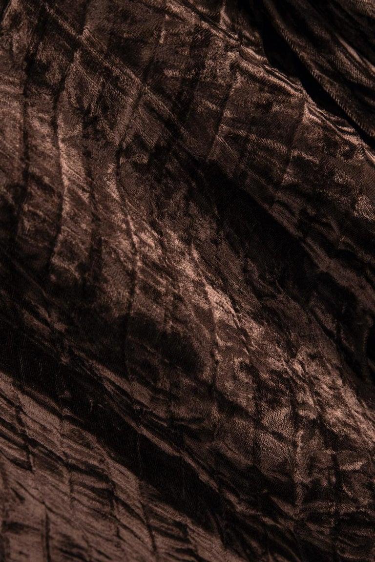 Documented Yves Saint Laurent YSL Brown Pleated Crushed Velvet Skirt, late 1970s For Sale 5