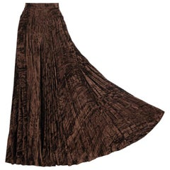 Documented YVES SAINT LAURENT YSL Brown Pleated Crushed Velvet Skirt, late 1970s