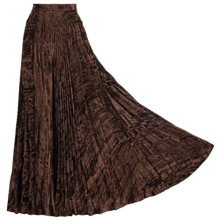 Documented Yves Saint Laurent YSL Brown Pleated Crushed Velvet Skirt, late 1970s For Sale